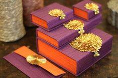 purple and orange boxes , gota work boxes , Indian Wedding Favors, Indian Wedding Cards, Wedding Favors Cheap, Indian Wedding Decorations, Wedding Favours, Party Favours, Indian Weddings, Indian Bridal, Real Weddings
