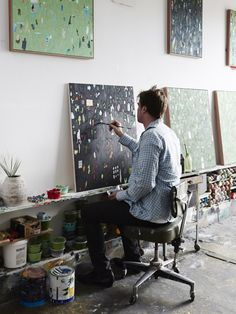 Artist Fred Fowler in his Footscray studio. Photo – Find original art for sale here ArtandFrame-x.com