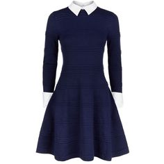 Alice Olivia Collar and Cuff Long Sleeve Dress ($450) ❤ liked on Polyvore featuring dresses, vestidos, blue, robes, collared dresses, blue dress, blue long sleeve dress, long sleeve collared dress and long sleeve dress