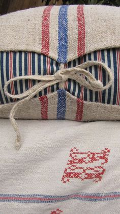 Antique French Grain Sack Reversible Ticking interior home design designs interior design 2012 decorating before and after Textiles, Ticking Stripe, Striped Linen, Grain Sack, Linens And Lace, Home And Deco, Soft Furnishings, Linen Fabric, Sunbrella Fabric
