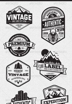 Buy Vintage Style Badges and Logos Vol 3 by GraphicMonkee on GraphicRiver. Overview This vector set contains 18 vintage/retro styled badges, signs and logos. The graphics are vector and a. Vintage Logo Design, Style Vintage, Logo Vintage, Vintage Surf, Vintage Designs, Logo Inspiration, Logo Hipster, Typographie Logo, Badge Design