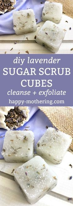 DIY Lavender Sugar Scrub Cubes Are you looking for the perfect handmade gift idea? These DIY Lavender Sugar Scrub Cubes cleanse and exfoliate skin - all while soothing and relaxing your body. Sugar Scrub Cubes, Sugar Scrub Recipe, Sugar Scrub Diy, Sugar Scrubs, Salt Scrubs, Diy Body Scrub, Diy Scrub, Exfoliating Body Scrub Diy, Exfoliating Products