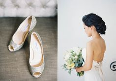 Gorgeous low chignon.  Romantic Carondelet House wedding | photo by Jen Huang Photography | 100 Layer Cake