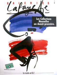 A French advertisement with a fashion sketch for the GALERIES LAFAYETTE department store in Paris! This is the original poster.