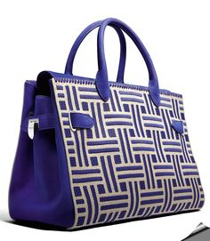 "Asprey London Spring 2017 ""Tanzanite"" sueded bullskin finely constructed day bag with hand woven horsehair panels embroidered and trimmed with tanzanite sueded bullskin"