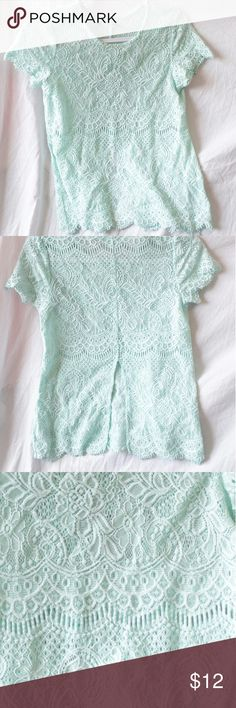 Sheer lace top. Super cute tiffany blue lace top. Maurices Tops