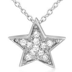 Silver Cubic Zirconia Star Pendant Necklace Set