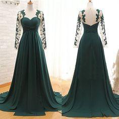 Long sleeves prom dress,lace appliques prom dress,a-line princess dress,high quality prom dress,elegant wowen dress,party dress,evening dress L545