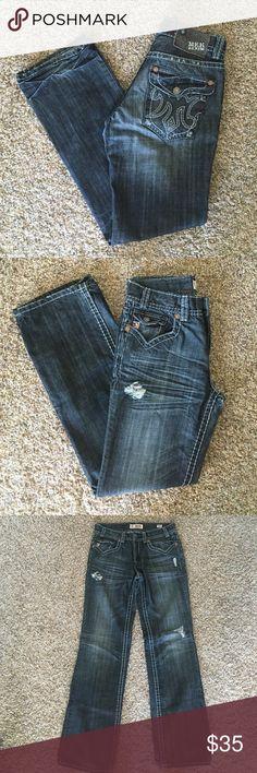 MEK Jeans/Montebello boot cut waist 31 length 34 MEK denim jeans. Light wear on the bottom hem and tear on the knee. Comes from a smoke free, animal free home. MEK Jeans Bootcut