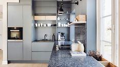No kitchen is complete with a stunning Lundhs Real Stone worktop. Discover Lundhs on our website. Blue Cabinets, Scandinavian Kitchen, Kitchen Worktop, Work Tops, New Kitchen, Bathroom Medicine Cabinet, Natural Stones, Shelves, Inspiration