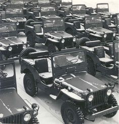 Excellent shot of some factory-fresh 1951 Jeep M38s - ready for service
