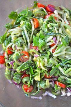 Spiralized Greek cucumber noodles