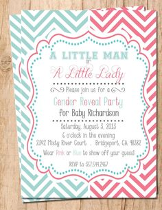 Little Man or Little Lady . Gender Reveal Party Printable Invitation by MoonshyneDesigns on Etsy Printable Invitations, Party Printables, Invitation Templates, Invitation Ideas, Invitation Design, Invitation Cards, Baby Shower Gender Reveal, Baby Gender, Gender Reveal Party Invitations