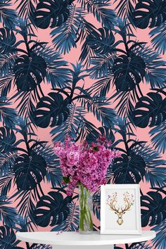 Removable Wallpaper Mural Peel & Stick Blue Tropical Leaves on | Etsy Small Bathroom Wallpaper, More Wallpaper, Colorful Wallpaper, Peel And Stick Wallpaper, Peach Background, All Wall, Tropical Leaves, Wall Murals, How To Remove