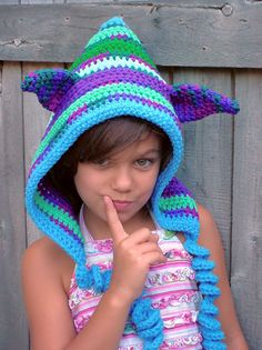 Crochet Hood Enchanted Elf Hoodie Hat Custom Made Mix shade of colors. $50.00, via Etsy.
