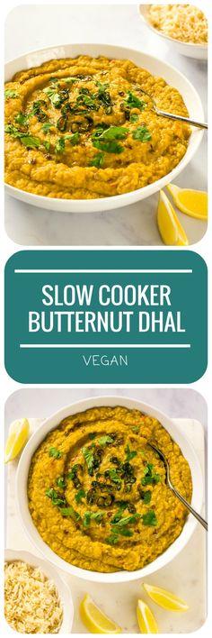Slow Cooker Butternut Dhal | #Vegan