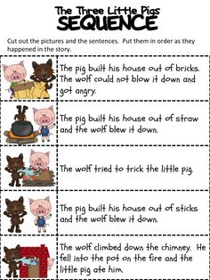 Sequencing activities are great for building language and literacy skills. Start with familiar stories to help build sequencing vocabulary (first, then). Repinned by SOS Inc. Resources pinterest.com/sostherapy/.