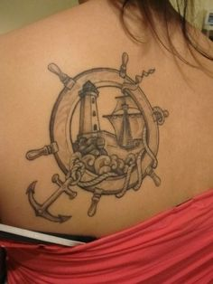 Nautical tattoo- I plan to get a series of tattoos that represent each one of the most influential family members in my life. Dad is a boater that loves fishing and collects anything with lighthouses on it, something with this kind of look will be for him.