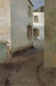 Street in Pont-Aven 1883 oil on canvas - Helene Schjerfbeck Helene Schjerfbeck, Pierre Bonnard, Seascape Paintings, Landscape Paintings, Mary Cassatt, Project Abstract, Gauguin, Monet, Cottage Art