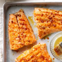 Our family loves salmon prepared this way, and it& a real treat to make on a warm summer evening. These fillets may be baked in the oven at 450 degrees for 18 minutes, basting occasionally. Easy Sandwich Recipes, Easy Salmon Recipes, Fish Recipes, Seafood Recipes, Orange Recipes, Tilapia Recipes, Spicy Salmon, Recipes, Bon Appetit