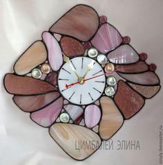 """Витражные часы """"Розово-сиреневые"""" - бледно-розовый,сиреневый,кремовый"""