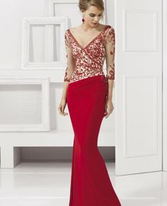 A jersey dress with beaded net top and ¾ length sleeves in red color is able to give you gorgeous look.