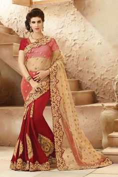 Acquire a regal aura in this contrasting half & half saree with a very intricate border. Buy Saree online - http://www.aishwaryadesignstudio.com/striking-beige-and-red-saree-with-zari