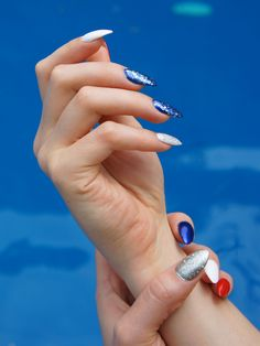 Patriotic stiletto nails - memorial day and july 4th manicure