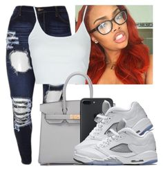"""""""Untitled #1027"""" by lover-185 ❤ liked on Polyvore featuring Topshop, Hermès and NIKE"""
