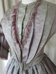Mauve jacquard silk robe a' transformation, ca. 1860 | In the Swan's Shadow