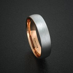 Tungsten Wedding Bands 6mm Mens Ring Brushed White with Rose Gold inside Dome Comfort Fit