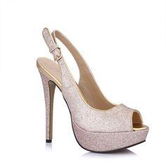 Women Dress Heeled Sandals Platform Pumps Glitter Gold Slingback Mules Shoes Prime -- You can find more details by visiting the image link.