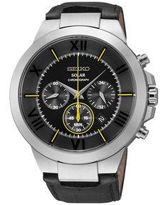 Seiko Men's Chronograph Solar Black Leather Strap Watch 45mm SSC285