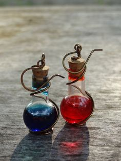 "Handmade Wire-Wrapped Red ""Health Potion"" and Blue ""Mana Potion"" Glass Bottle Earrings"