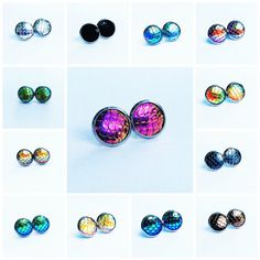 Hypoallergenic Earrings Studs Mermaid Scale by SouthernStitchesCo
