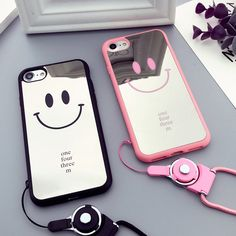 Mirror Smile Mobile Phone Case for Apple iphone 7 case Cute Couple Phone Case for iPhone 7plus 6plus 6s TPU Lanyard Phone Case