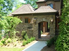 Courtyard Entrance with Exterior Stone Veneer