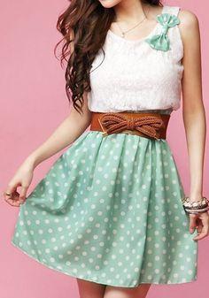 Grüne Punkte Patchwork Spitze Süße Chiffon- Minikleid