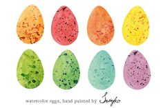 Easter Eggs Clipart, Watercolor by swiejko on Creative Market