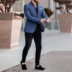 Black and Blue Business Suits Terno Masculino Men Suits for Wedding Prom Party Oversize Attire Men Wear Costume Homme Man Outfit Suits Outfits, Blazer Outfits Men, Mens Fashion Blazer, Mens Blazer Styles, Classy Mens Fashion, Best Mens Fashion, Dress Outfits, Mens Casual Suits, Casual Wear For Men