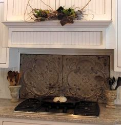 I'm so going to copy cat this. Vintage ceiling tiles as a stove backsplash (from My Romantic Prairie Home) Decor, Ceiling Tiles Crafts, Cottage Chic, Vintage Ceiling Tin, Faux Tiles, Embossed Wallpaper, Prairie Home, Ceiling Tiles, Tile Crafts