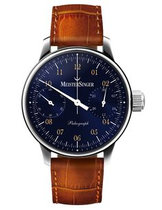 MeisterSinger Paleograph Mens Single-Hand Manual Wind Mechanical Chronograph Watch - Analog Blue Face Unique Watch with Sapphire Crystal - Brown Leather Band Swiss Made Luxury Watch for Men Rolex, Fine Watches, Cool Watches, Der Gentleman, Patek Philippe, Luxury Watches For Men, Beautiful Watches, Automatic Watch, Fashion Watches