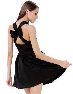 robe plissée dos dénudé ornée de nœuds -Noir