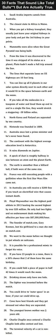 30 facts that are unbelievably true