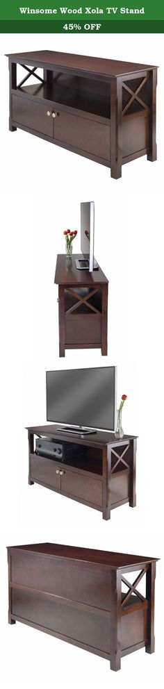 """Winsome Wood Xola TV Stand. Xola family has a new member, TV stand, to help complete your room. Wide and roomy, this media center offers storage space and two wood panel doors. Quality construction and design. Contemporary looks blend seamlessly into any decor. Open storage section is 39.29""""W x 14.37""""D x 8.27'H. Behind two doors is 2 sections of storage with each has 19.25""""W x 13.58""""D x 8.27""""H in size. Accommodate up to 46"""" Flat screen TV. Xola TV Stand has an overall assembled size of..."""