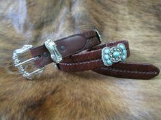 Rusty Spur Couture SSM Butterfly Concho w/ Turquoise Stone Brown Braided Leather Belt - 6174, ,