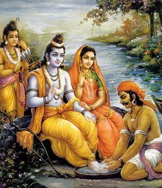 Sita Ram Laxman and Kevat Shiva Art, Shiva Shakti, Hindu Art, Krishna Art, Radhe Krishna, Hanuman Images, Lord Krishna Images, Lord Sri Rama, Shri Ram Photo