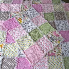 Rag Quilt for baby girl flannel reversible by TheNarrowStaircase