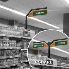 P1343 - MOUNTAIN INLINE - Aisle Markers for Store Shelving - Custom Printed with Your Copy Free! - retail aisle signs