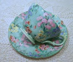 Striking SHELLEY CHINTZ MELODY Tea Cup and Saucer Too Pretty